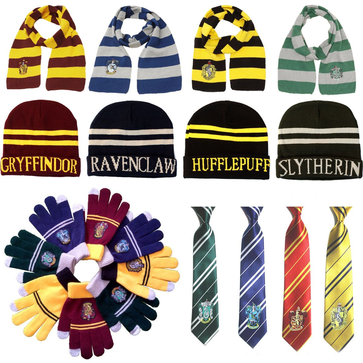 dee300ac16d Harry Potter Scarf Tie Hat Gryffindor Slytherin Hufflepuff Ravenclaw  Cosplay Hot