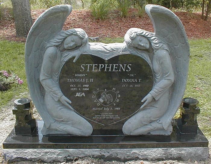 Companion granite monument stephens double angel single
