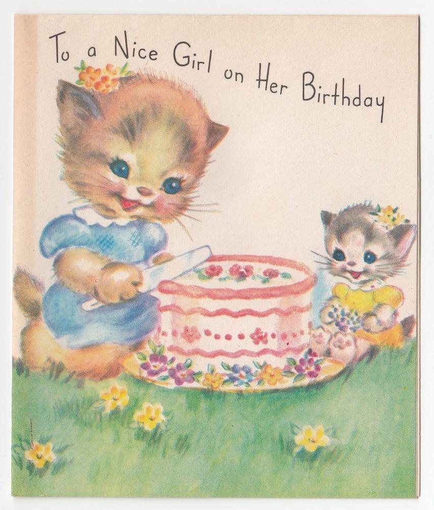 Cat Birthday Card with Cake Kitten Birthday Card  Cat Greeting Card  Cute Birthday Card  Girly Card