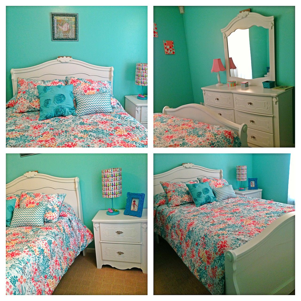 turquoise and coral girl's bedroom | room makeover | pinterest