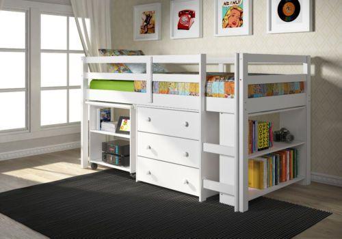 Whitetwin Low Loft Bunk Bed Built in Chest Book Shelf Desk Ships Free | eBay