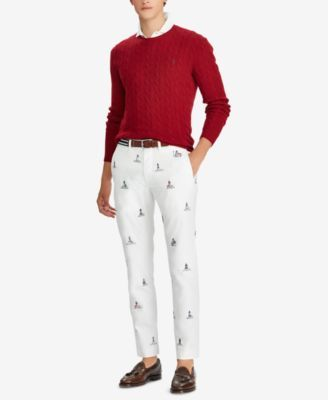 ec55d264 Polo Ralph Lauren Men's Embroidered Lighthouse Stretch Straight-Fit Pants - White  W/ Emb 36x32