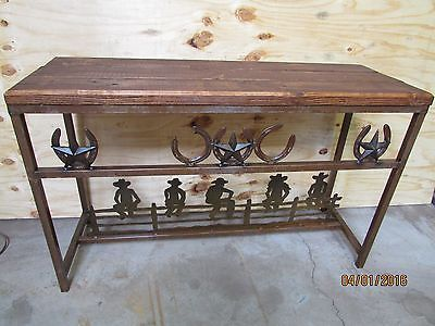 Western Rustic Horseshoe Entry Way Table Sofa Handmade To Order