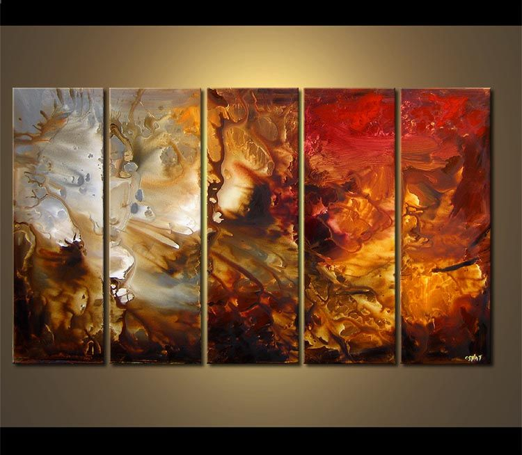 Original abstract art paintings by osnat multi panel wall decor