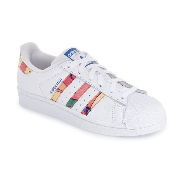 a29e75d06cbe9 Women's Adidas 'Superstar' Print Sneaker (€81) ❤ liked on Polyvore  featuring shoes, sneakers, print sneakers, flower pattern shoes, low  profile sneakers, ...