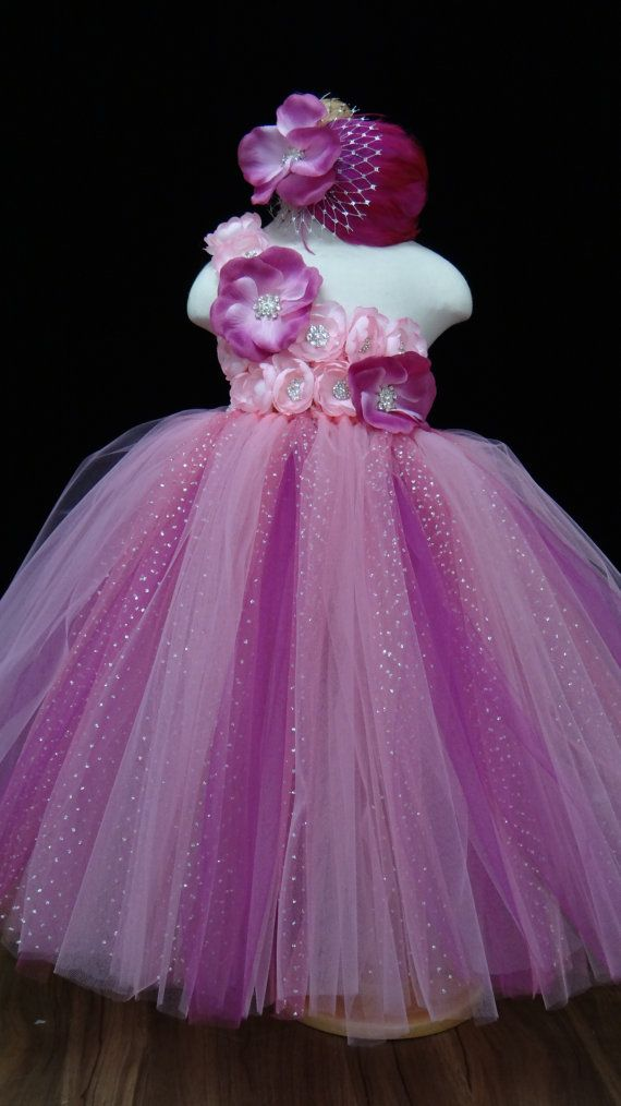 a818ebd621f Pink Fuchsia Flower Girl Dress.... Pink flowers by LureCouture ...
