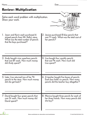 If Your Third Grader Needs Multiplication Help Try This Worksheet That Features Money Word Pro 3rd Grade Words Math Word Problems Multiplication Word Problems