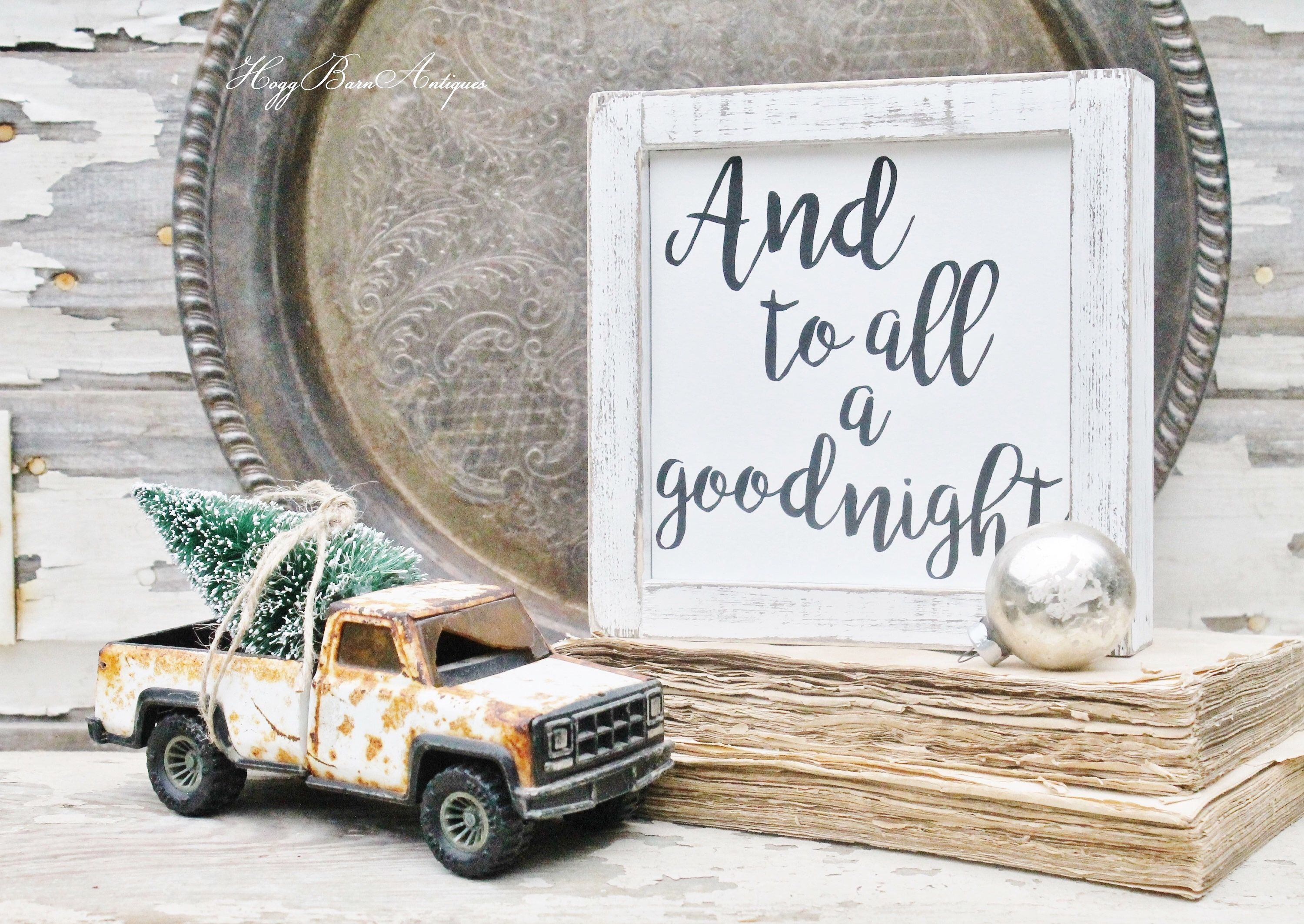 CHRISTMAS Farmhouse Decor Sign Wood Framed Chippy White SANTA And To ...