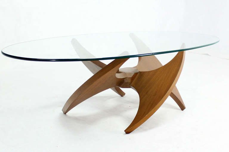 midcentury modern walnut propeller base oval coffee table with glass top