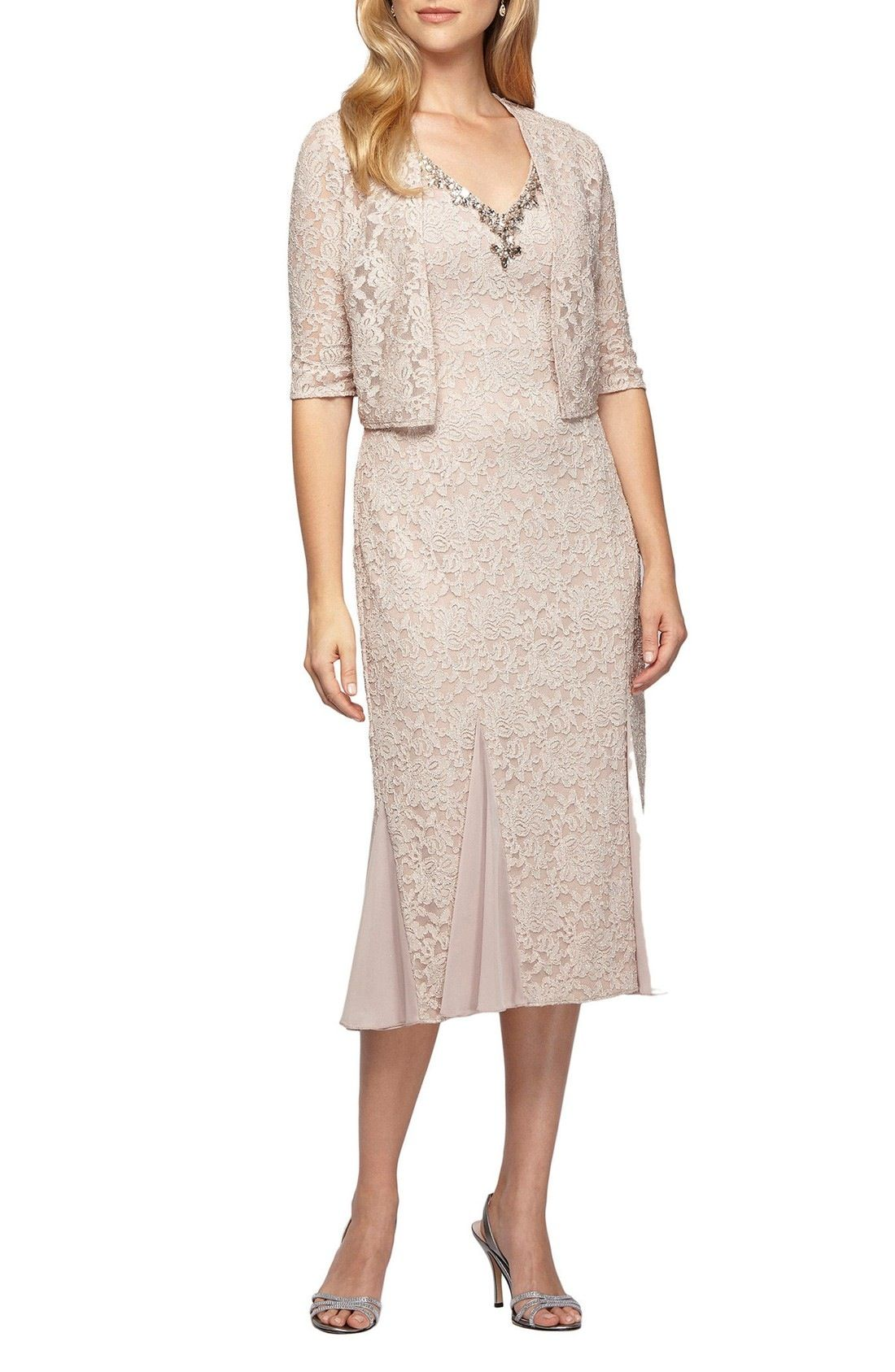 Nordstrom wedding dress  Alex Evenings Lace Tea Length Dress with Bolero Jacket available at