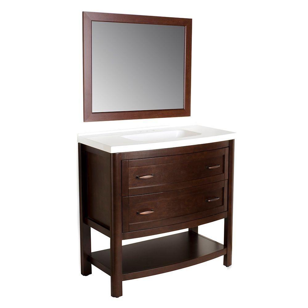 Home Decorators Collection Prescott 36 In. Vanity In Chestnut With Marble  Vanity Top In White