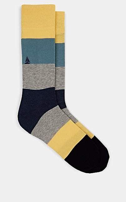 3f2d02b8da4f Corgi Men's Striped Boat-Motif Cotton-Blend Mid-Calf Socks in 2019 ...