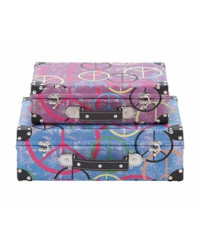 Multicolor Luggage Set of Two with Silver Locks and Leather Handle - Flaunting trendy shades, the cases include colorful accents that make them look more striking. The cases are made from high-quality canvas and wood to ensure that they are hardwearing and durable.