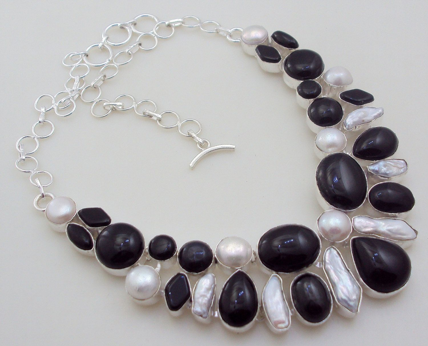 105 gram stunning BIWA PEARL- ONYX .925 sterling silver handmade  necklace  free shipping by OCEANJEWELLERS on Etsy