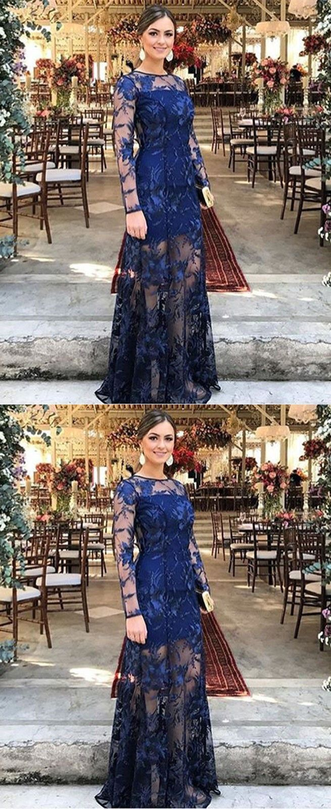 Sheath bateau sweep train blue lace prom dress evening party gowns