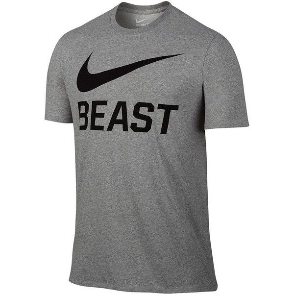 a61def27 Men's Nike Beast Tee ($22) ❤ liked on Polyvore featuring men's fashion, men's  clothing, men's shirts, men's t-shirts, grey other, mens print shirts, mens  ...