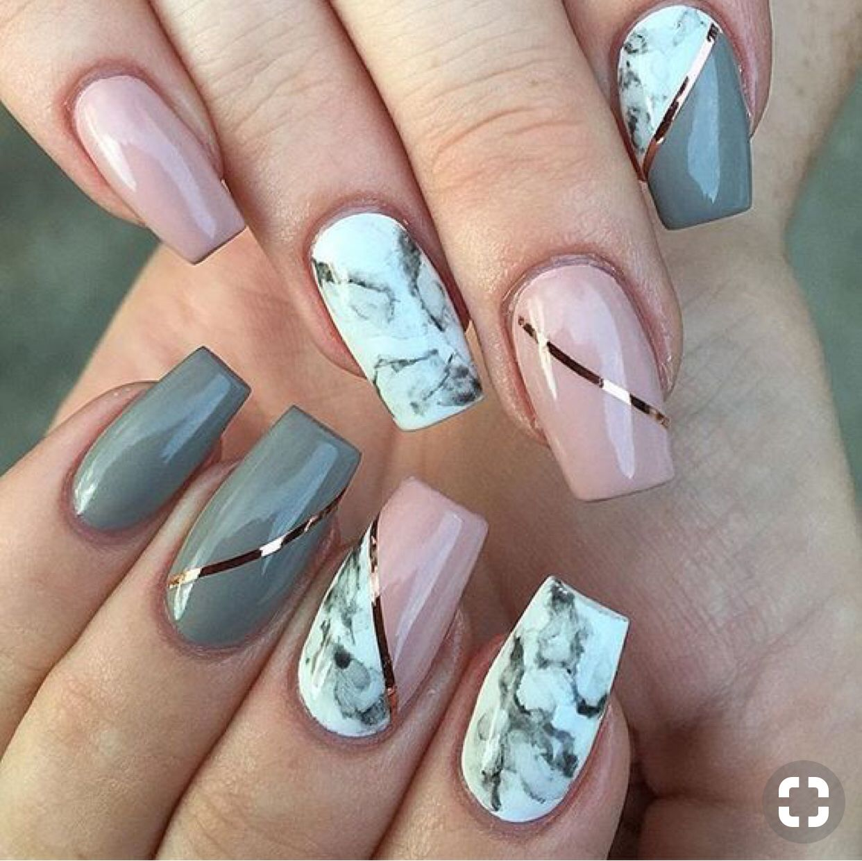 Amazing marbled pink and gray coffin shaped nails! in 2019