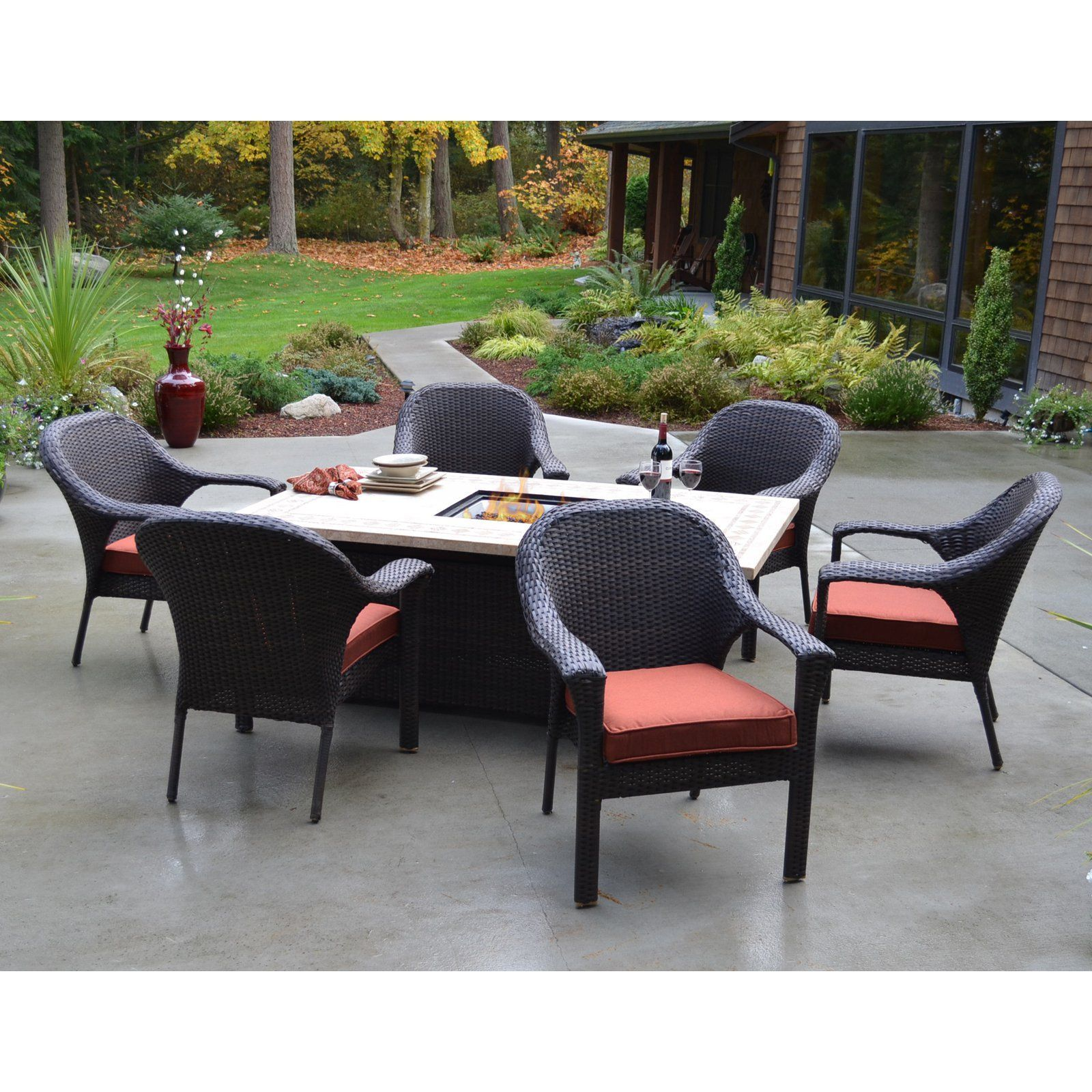 Bellmar All Weather Wicker Dining Fire Dining Set The Outdoor