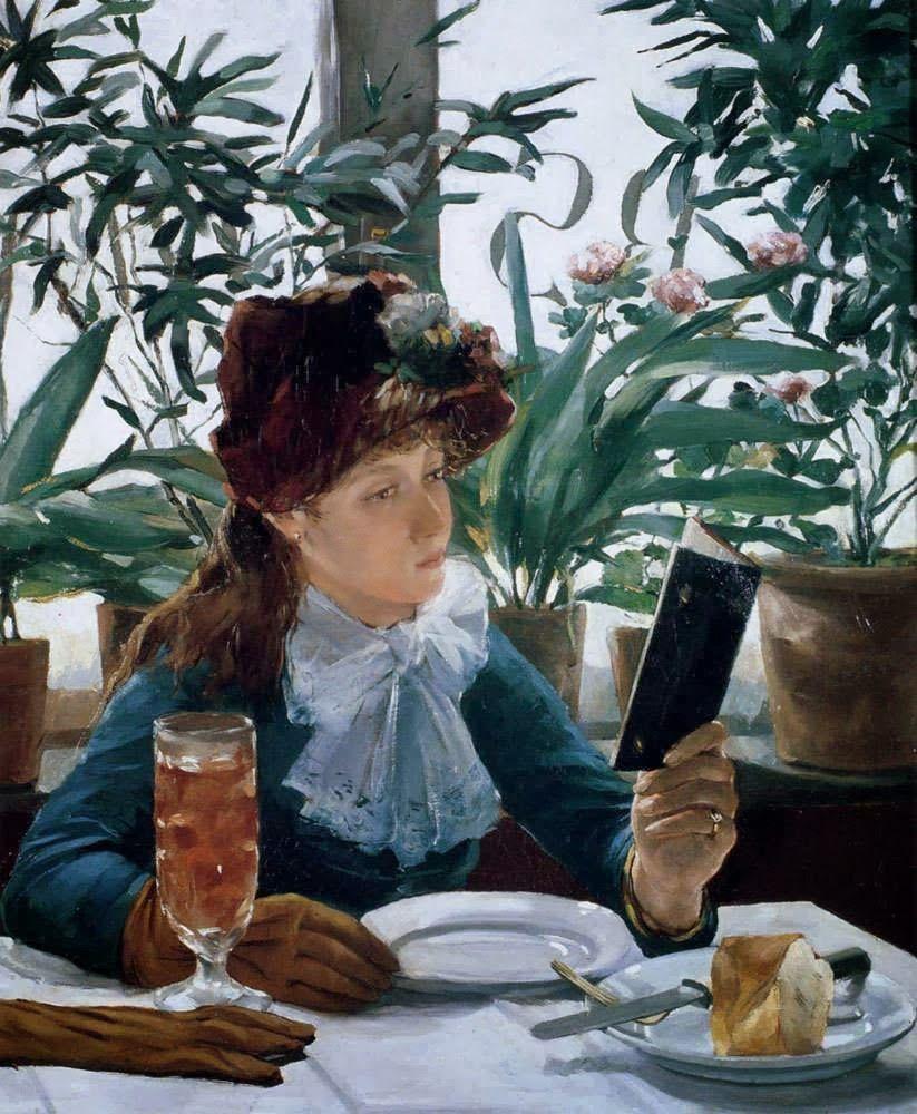 Reading in the restaurant - Alexandre Auguste Hannotiau