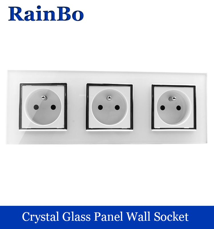 rainbo manufacturer France Standard power Socket Glass Panel AC Wall ...