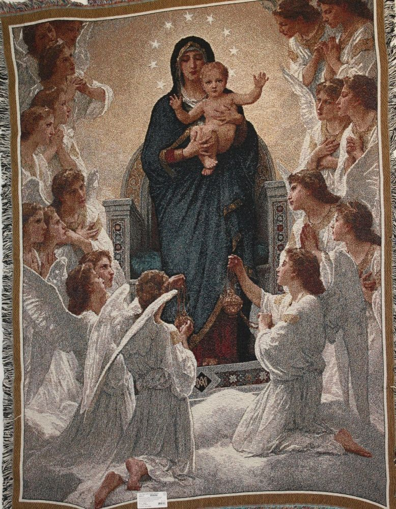 The Virgin With Angels Prayer Tapestry Throw Blanket