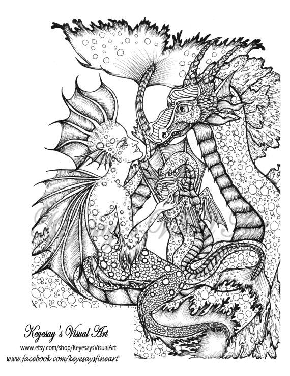 Adult Child Coloring Page Sea Serpent And By Keyesaysvisualart
