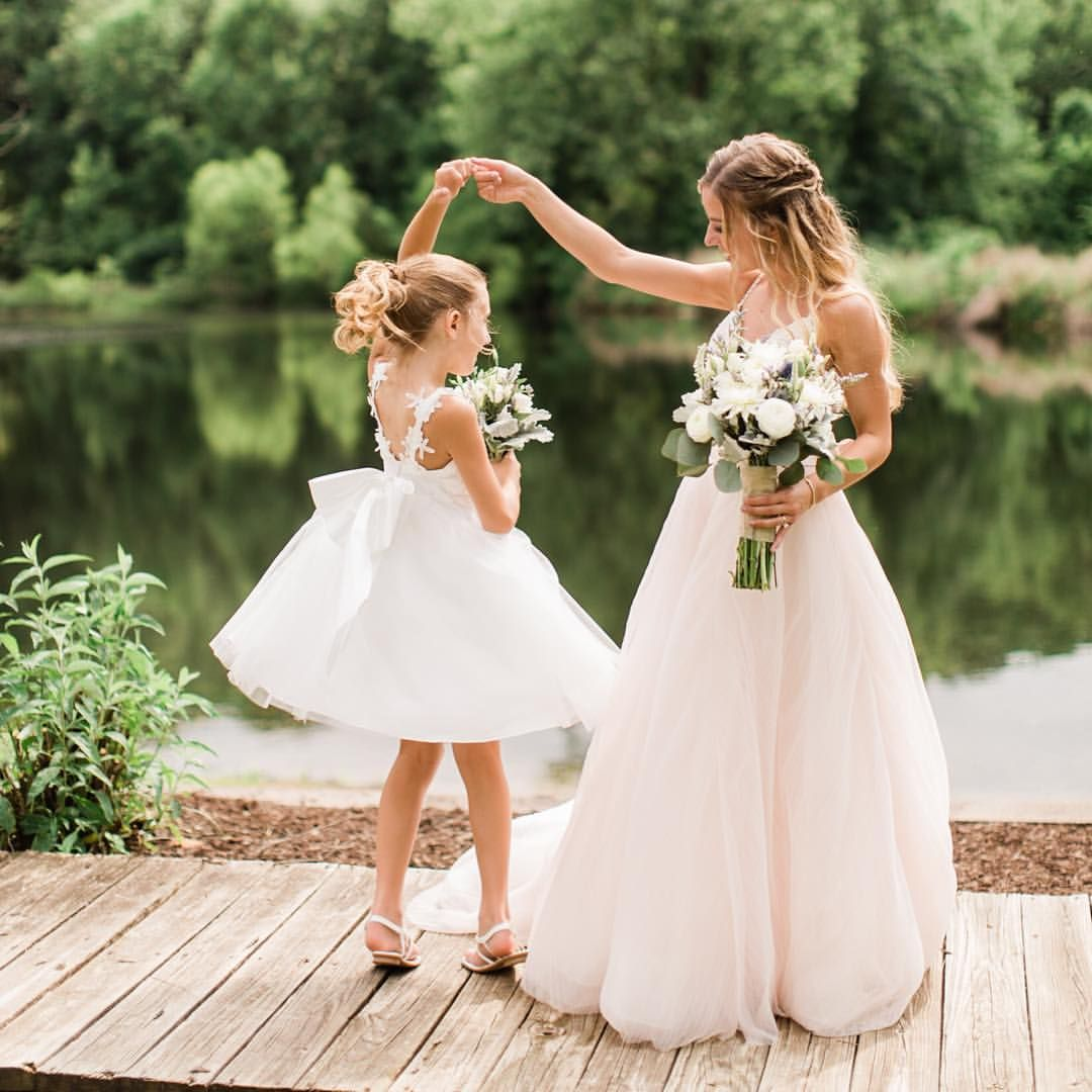 Bride Twirling Flower Girl Blush Pink Wedding Dress Allure