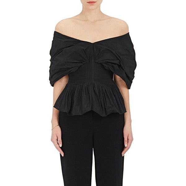 b300e044996310 Brock Collection Women's Taffeta Off-The-Shoulder Top ($1,990) ❤ liked on Polyvore  featuring tops, black, off the shoulder peplum top, peplum tops, ruched ...