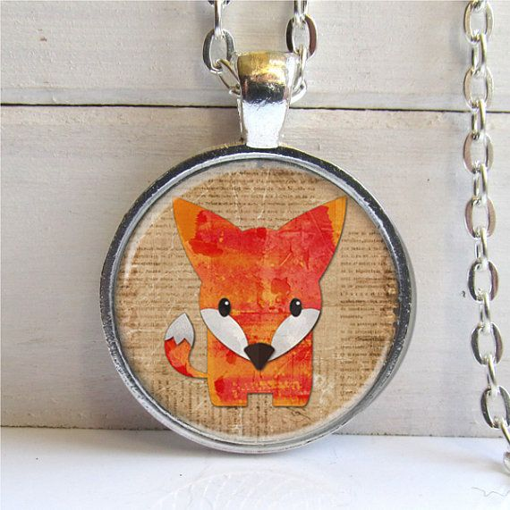Fox Pendant Cute Fox Necklace Fox Jewelry by ShimmerCreek on Etsy