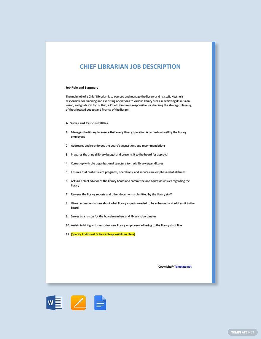 Free chief librarian job description template in 2020