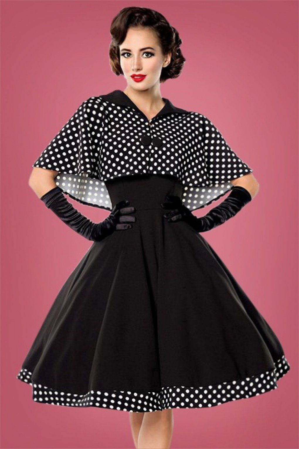 Vintage Style Dresses 50s Lesly Polkadot Cape Swing Dress in Black £55.95  AT vintagedancer.com cae73d0b6e7d