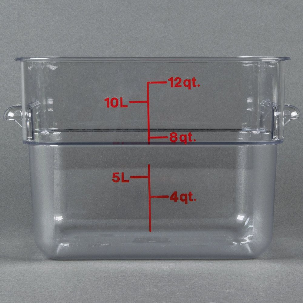 Cambro 12sfscw135 12 Qt Clear Square Polycarbonate Food Storage Container With Red Gradations Food Storage Containers Food Storage Cambro