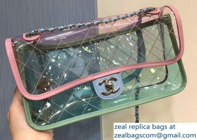 2f8ad95ac769 Chanel PVC Coco Splash Medium Flap Bag A57049 Pink Blue Green 2018 ...