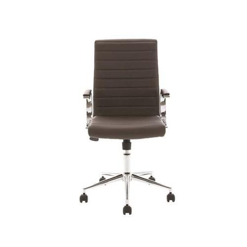 Trexus Executive Chair Static Arms Flat Packed Bonded Leather Brown 148836  | Executive Chair, Arms And Rattan Furniture