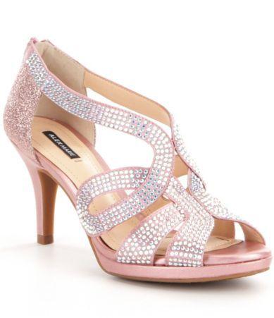Alex Marie Dayten Rhinestone-Embellished Satin Dress Sandals 0FI39