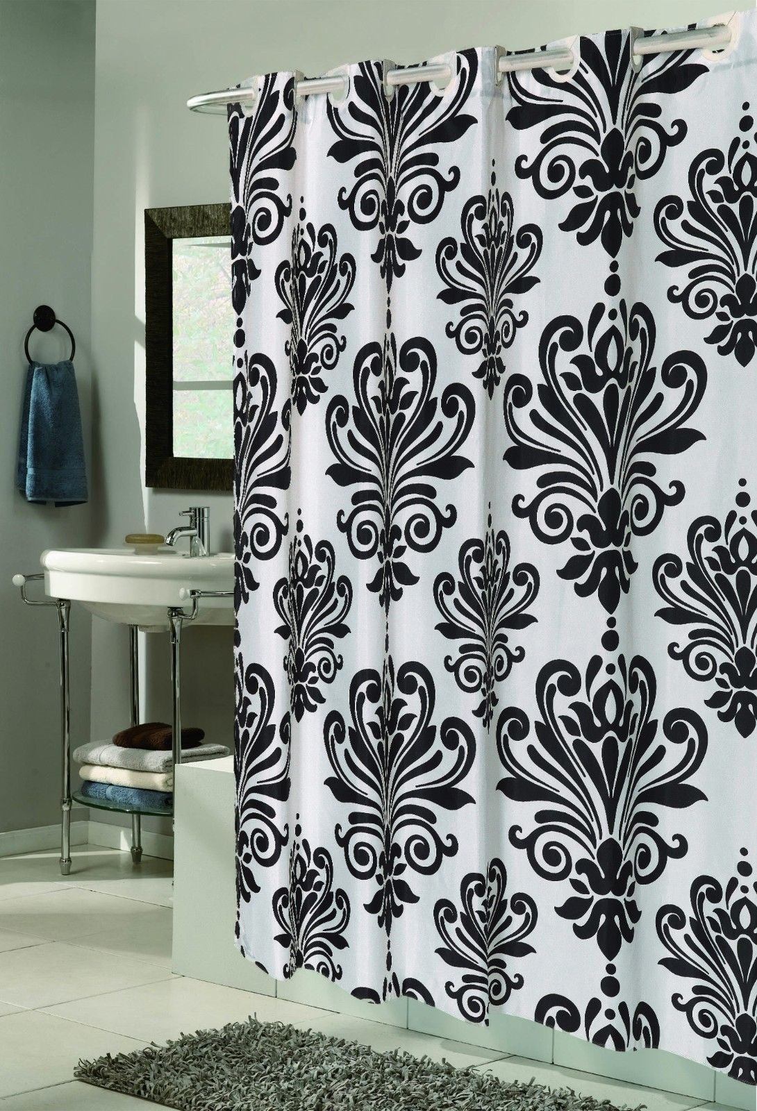 Cool Hookless Fabric Shower Curtain And Liner Dengan Gambar