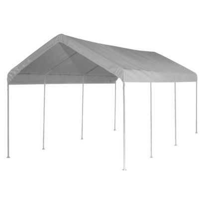 Shelter Logic 20 X 10 Max Ap 8 Leg Canopy White Temporary Shades Black Steel Frame Canopy