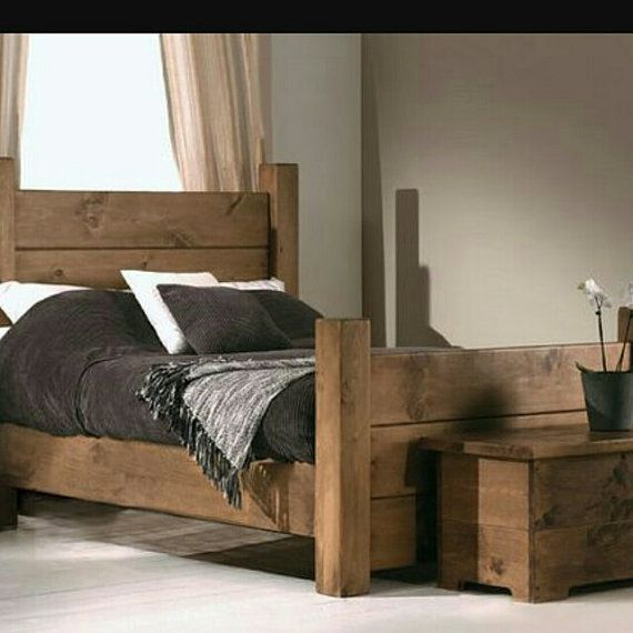 Rustic Style Chunky Bed Bespoke Solid Wood Hand Built Pine Bedroom Furniture Reclaimed Bedroom Furniture Wooden Bed
