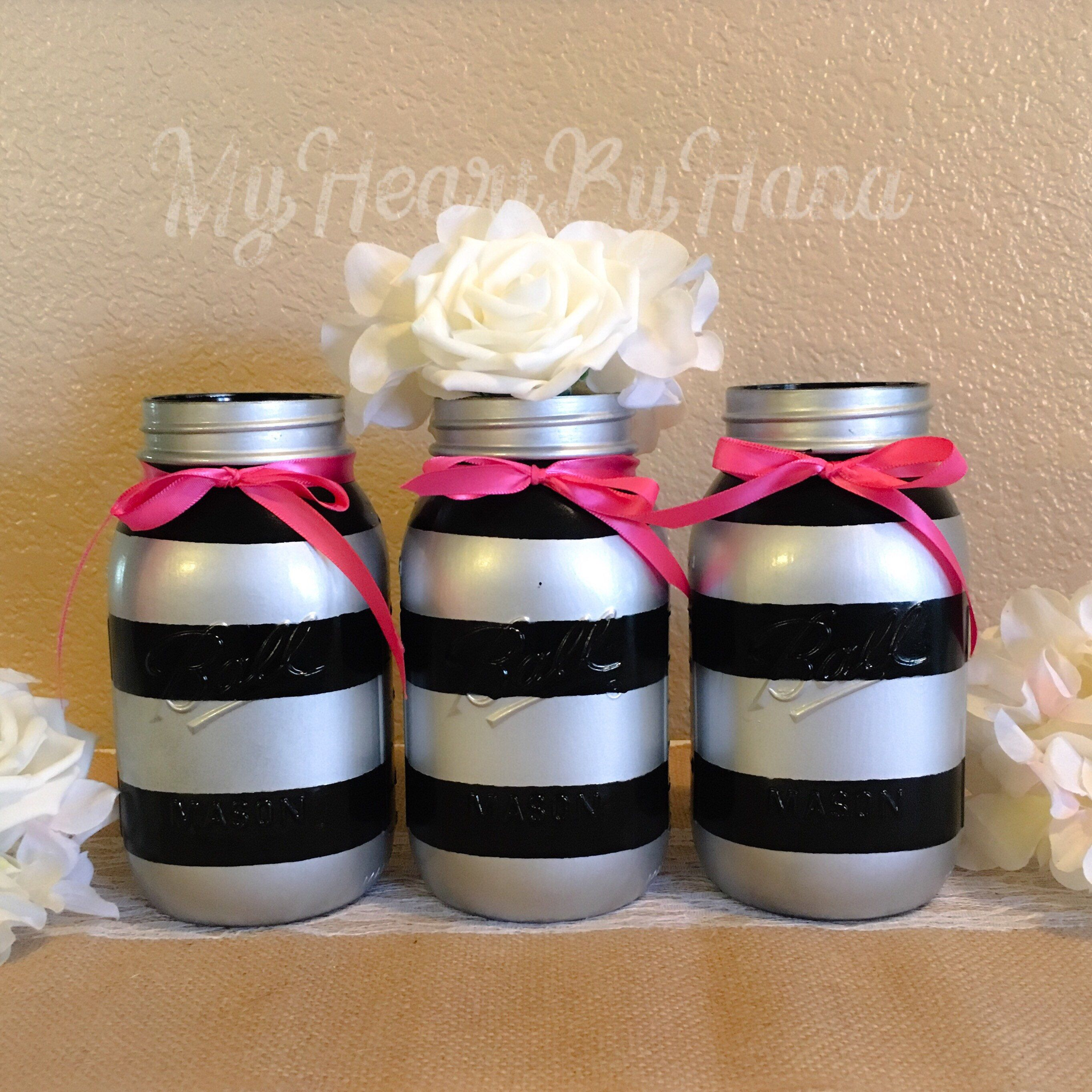 Baby shower decorations black and pink centerpieces bridal shower