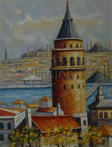 Galata Kulesi Yaaÿla Boya Tablo Tablolar Resim Sanati Yeni Sanat