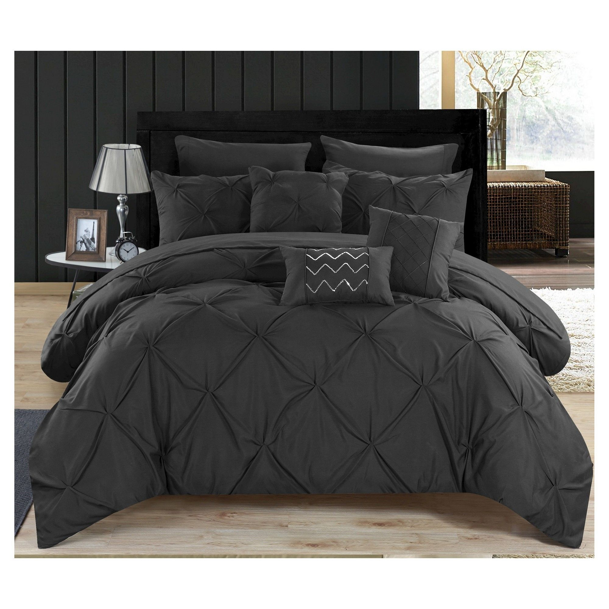 Valentina Pinch Pleated Ruffled Comforter Set 10 Piece Queen