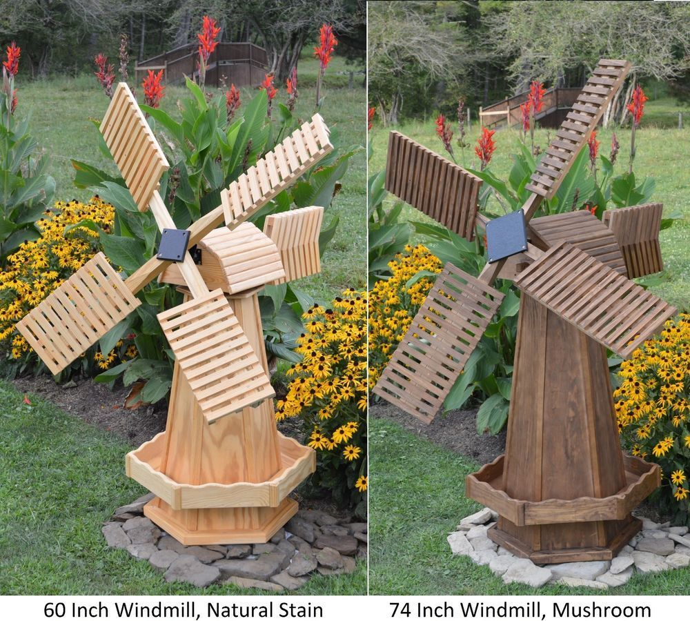 Amish-Made Wooden Dutch Windmill Yard Decoration - Available in 8