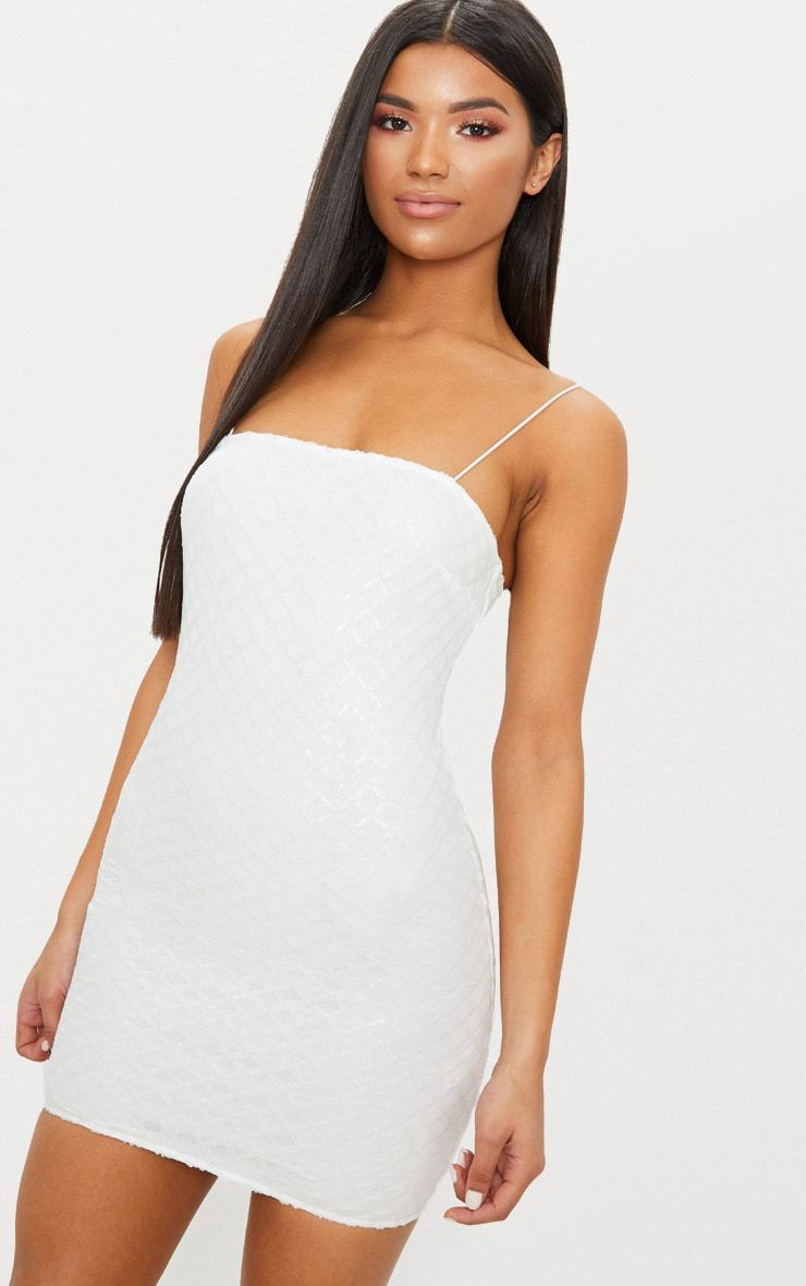 4c44614faa8 White Strappy Sequin Straight Neck Bodycon Dress