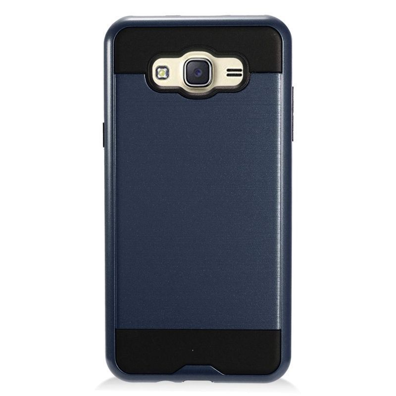 Insten Blue/ Chrome Hard Plastic Dual Layer Hybrid Brushed Case Cover For Samsung Galaxy J7