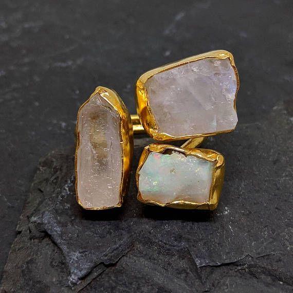 ESHQROCK RAW rough clear quartz opal and moonstone ring https://www.etsy.com/listing/552125727/eshqrock-raw-rough-clear-quartz-opal