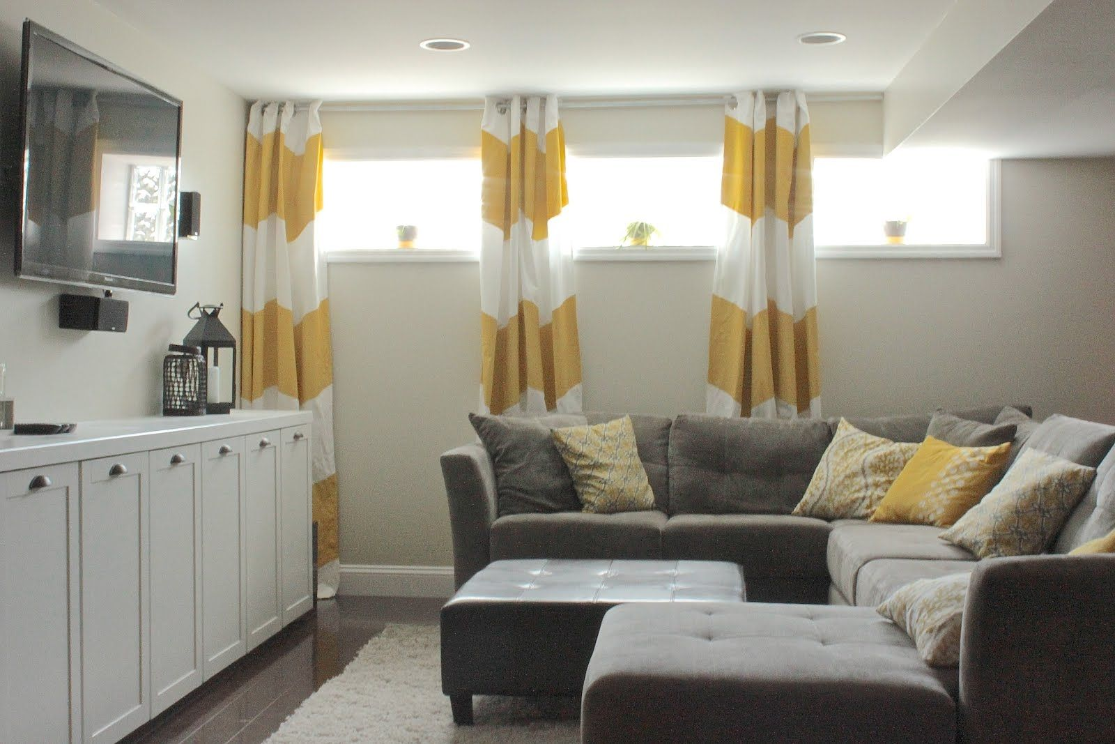 Curtains For Long Horizontal Windows   Basement living rooms ...