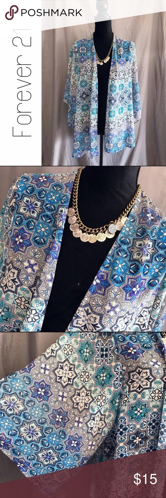 Forever 21 Blue Floral Kimono Top Open Cardigan S | Kimono top ...