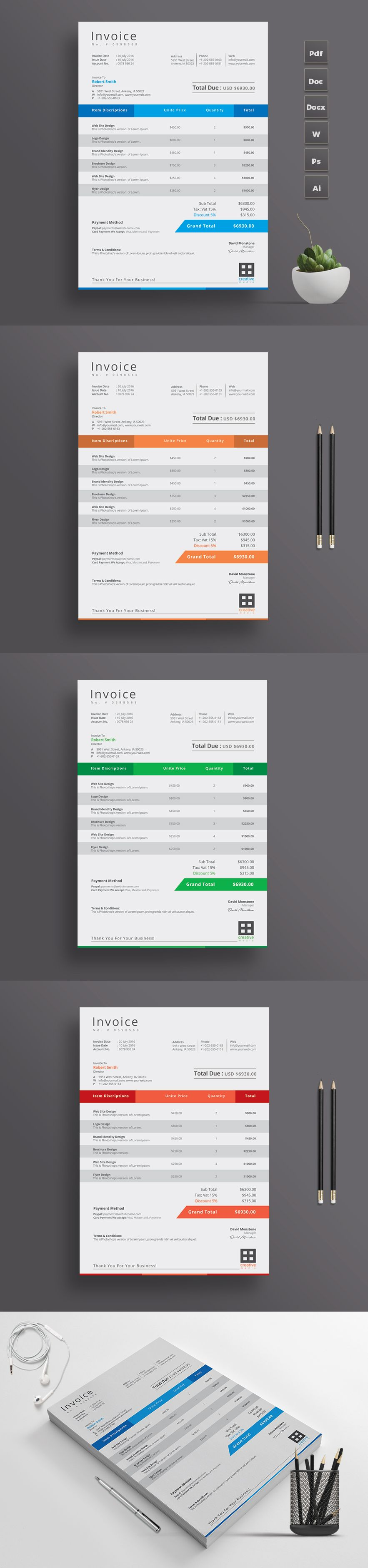 Simple Invoice Design Template With Microsoft Excel Version