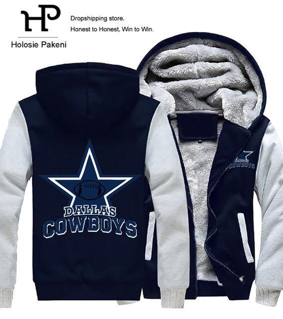861a170f8 Dropshipping Men Women Steelers Broncos Cowboys Hoodies Zipper Sweatshirts  Jacket Printed Winter Thicken Hooded Coat