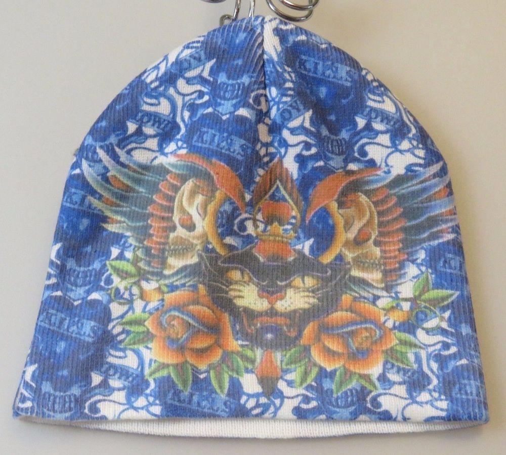 ED HARDY Beanie Stocking Winter Cap Hat Blue Love Kills Slowly ... 5dcf60186a1d